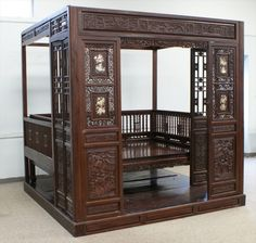 Carved and MOP inlaid Chinese opium bed