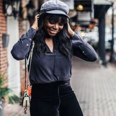 Coco rocks an all-black look, styled by Stitch Fix! The combination of her Equipment silk shirt and Trina Turk velvet pants makes for a fun holiday look. Stylish Outfits, Fall Outfits, Fashion Outfits, Black Women Fashion, Womens Fashion, Runway Fashion, All Black Looks, Stitch Fix Outfits, Cool Style