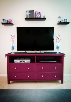 "This is almost exactly what we did with an old buffet and I had NOT seen this pin.... painted ours a deep burgundy red color and tiled the top w/ 1"" square, mother of pearl/ oyster shell tiles. Will post pics as soon as Hub finishes fine tuning His new toy.  ;o)  Dresser Turned into a beautiful TV Stand...entire process included!"