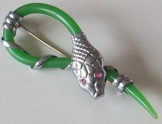 Art Deco snake bakelite pin