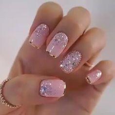 nail art designs with glitter \ nail art designs ; nail art designs for spring ; nail art designs for winter ; nail art designs with glitter ; nail art designs with rhinestones Silver Glitter Nails, Gold Tip Nails, Glitter Nail Designs, Pink Gold Nails, Toenail Art Designs, Pink Nail Designs, Glitter Nail Art, Baby Pink Nails With Glitter, Lace Nail Design