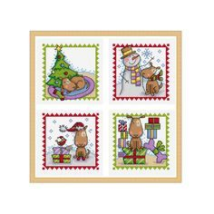 A set of four cross stitch charts of a little dog enjoying Christmas, would be ideal for cards or small gifts.  Chart specs. each design • stitch count - 49 x 49 stitches • finished size - 3.9 in x 3.9 in / 9 cm x 9 cm  when sewn on 14 count aida • stitches used - whole cross stitch and back stitch.  This chart arrives to you as an instant pdf download.  The pdf includes • full colour chart with symbols • key for DMC stranded thread  © Durene Jones 2016. This pattern is for personal use…