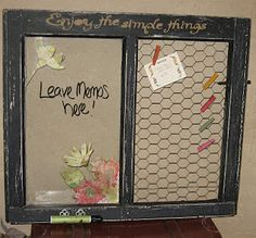 Dippity Dot: Repurposed Old Windows pane ideas with chicken wire Antique Windows, Vintage Windows, Old Windows, Antique Frames, Old Window Projects, Craft Projects, Projects To Try, Craft Ideas, Fun Ideas