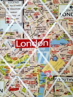 Medium London City Map Hand Crafted Fabric Notice / Memory / Pin / Memo Board £14.99