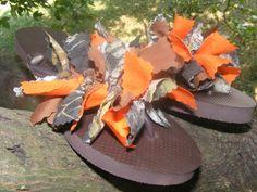 Mossy Oak Hunter Orange Camo Neon Flip Flops. $15.00, via Etsy.   Lol Missa's Wedding Shoes.