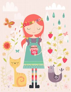 Making Jam Art Print - illustration by Lamai A cute girl holding a jam jar with a beautiful floral background and a cat and rooster next to her. Cute Illustration, Cat Art, Print Patterns, Art For Kids, Doodles, Painting, Art Prints, Drawings, Artwork