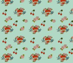 Tattoo Love fabric by jenimp on Spoonflower - custom fabric making my own dresses next!! :0