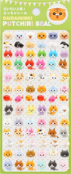 kawaii puffy stickers with cat 2