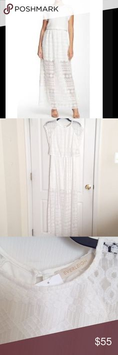 Everleigh white lace maxi dress-from anthropologie New Everleigh white lace maxi dress size medium. It has a lining under the lace part that is like a short skirt. Retails $150 Anthropologie Dresses Maxi