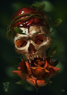 Bloody skull, Andrey Popov on ArtStation at https://www.artstation.com/artwork/0L9n5