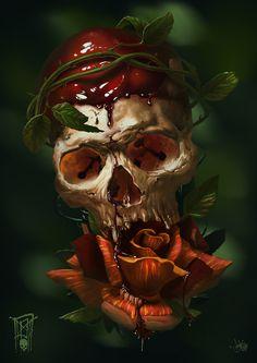 Bloody skull, Andrey Popov on ArtStation at https://www.artstation.com/artwork/0L9n5