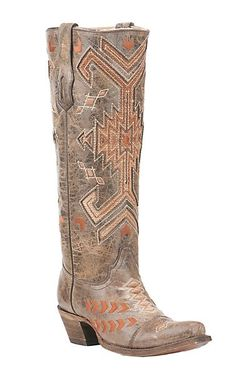 Corral Women's Tan with Orange and Bronze Aztec Print Inlay Western Snip Toe Boots | Cavender's