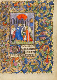 The Annunciation  Follower of the Boucicaut Master  French, Paris, about 1410  Tempera colors, gold leaf, and gold paint on parchment  7 1/2 x 5 1/2 in.  MS. LUDWIG IX 5, FOL. 27