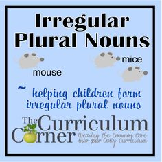 Irregular Plural Nouns - teaching students to correctly use irregular plural nouns.  Includes many activities along with a free printable file folder game!  From www.thecurriculumcorner.com