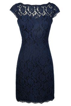 Time and Lace Pencil Dress in Navy  www.lilyboutique.com