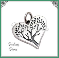 1 Sterling Silver Etched Tree of Life Heart Charm by sugabeads