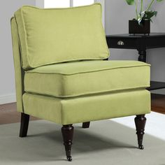 @Overstock - This stylish Cassidy armless chair features a fabric construction in an apple green color that will add a pop of comfortable fashion to any home's decor. With solid wood legs, stylish casters and comfy cushions, this chair is a confident choice.http://www.overstock.com/Home-Garden/Cassidy-Apple-Green-Fabric-Armless-Chair/6985583/product.html?CID=214117 $229.99
