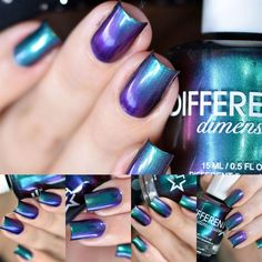 Utopia is a multichrome polish that shifts from green to blue to purple to red and back again. Opaque in 2 to 3 coats. ALL polishes contain a 3-Fre...