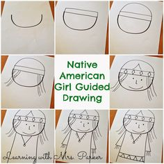 Guided Drawings of Pilgrims and Native Americans - Learning With Mrs. Parker Guided Drawings of Pilgrims and Native Americans - Learning With Mrs. Thanksgiving Drawings, Thanksgiving Art, Thanksgiving Preschool, Fall Preschool, Native American Drawing, Native American Girls, Fall Art Projects, School Art Projects, School Ideas