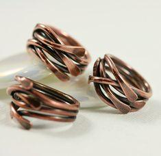 Copper Ring Organic Stack Ring Soldered от WhimOriginals на Etsy