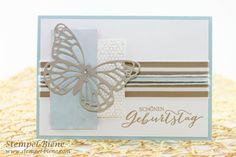 Stempel-Biene: Geburtstagskarte mit Schmetterlingsgruß