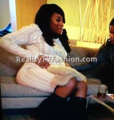Yandy Smith's White Cable-Knit Patterned Dress #LHHNY