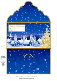 GOLD CHRISTMAS TREE Money Wallet Gift Envelope on Craftsuprint designed by Janet Briggs - Christmas money wallet or gift voucher holder, depicting a lovely winter scene and gold Christmas tree.Sentiment tag on the front reads Merry Christmas and includes space for a To and From message.Suitable for male or female gifts. - Now available for download!