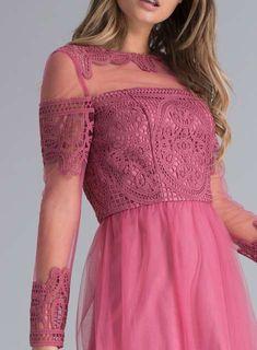 *Chi Chi London Pink Crochet Bodice Midi Skater Dress - Dorothy Perkins