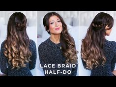 Lace Braid Half-Do Hairstyle - YouTube