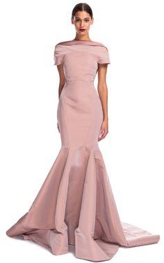 Zac Posen Bateau Neck Evening Gown