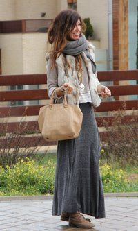 Grey long skirt, fall and winter