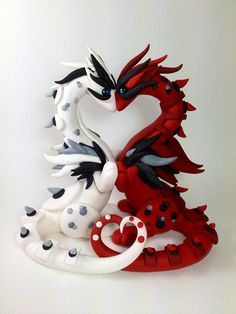 Pareja de dragones en porcelana fria