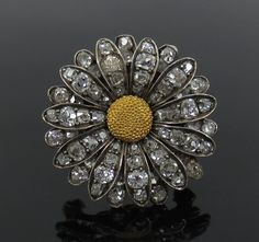 Antique 1800's 2.0ct Old Mine Cut Diamond Silver & Gold Sunflower Brooch