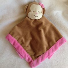 Lovey Monkey Tiddliwinks Baby Girl Security Blanket Brown Pink Bow New No Tags #Tiddliwinks
