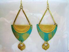 Egyptian earrings vintage style Art Deco by AngelineDresserSilks
