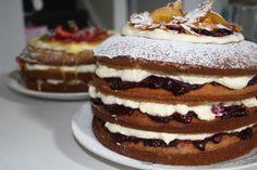 Ginger walnut cream cake with roasted tamarillo and candied orange. Cream Cake, Tart, Cheesecake, Pudding, Cakes, Orange, Desserts, Food, Custard Cake