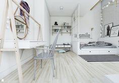 Sypialnia w stylu skandynawskim - widok na toaletkę. - zdjęcie od NEFA Architekci - Pokój dziecka - Styl Skandynawski - NEFA Architekci