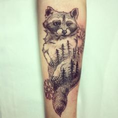 Raccoon double exposure tattoo by Alex M Krofchak at The Tattooed Arms, Lincoln. Dotshaded. Dotwork. Wildlife. Forest. Blackwork. Animals. Animal. Forearm.