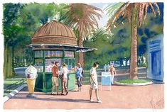 The kiosk of the park. Watercolor 24 x 16 cm Kiosk, Landscapes, Watercolor, Park, Portrait, Illustration, Painting, Pen And Wash, Ice Cream Stand