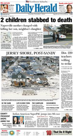 Daily Herald front page, Nov. 1, 2012