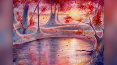 Magic Forest in Watercolor - Drawing Autumn Landscape - Волшебный лес - ...