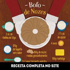 Infográfico receita de Bolo de Nozes, uma ótima receita para o Natal, muito saborosa, além de ser fácil e rápida de preparar. Ingredientes: nozes, farinha de trigo, manteiga, iogurte, açúcar, ovos e fermento.