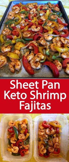 These sheet pan shrimp fajitas are amazing! This is a perfect keto meal, so easy and delicious! Everyone loves these shrimp fajitas! dinner on the go Keto Sheet Pan Shrimp Fajitas Keto Shrimp Recipes, Diet Recipes, Cooking Recipes, Healthy Recipes, Shrimp Meals, Vegan Keto, Paleo, Shrimp Fajitas, Low Carb