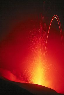 Stromboli volcano near sicily ....  We got to see it erupting in '05!!