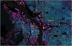 Track the color changes to see where old neighborhoods meld with new ones: Structures shown in aquamarine date from the 1890s, purple from the 1950s and hot pink to white from 1970 onward.