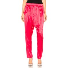 Baja East Satin Back Crepe Pant ($695) ❤ liked on Polyvore featuring pants, crepe pants, pink satin pants, crepe trousers, stretch waist pants and pink pants