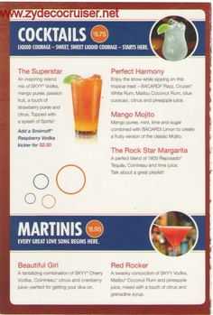 carnival cruise drink menu