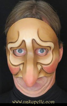 Commedia mask made by nakupelle. A more contemporary commedia mask based on a sad sack character who can also play proud. Artist: Minna Matilda.