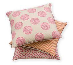 Madeline Weinrib Pink & Orange Blockprint Pillows