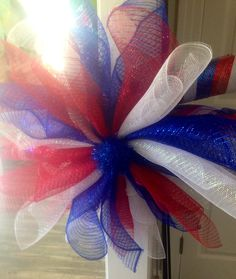 Fourth of July Mesh Flower